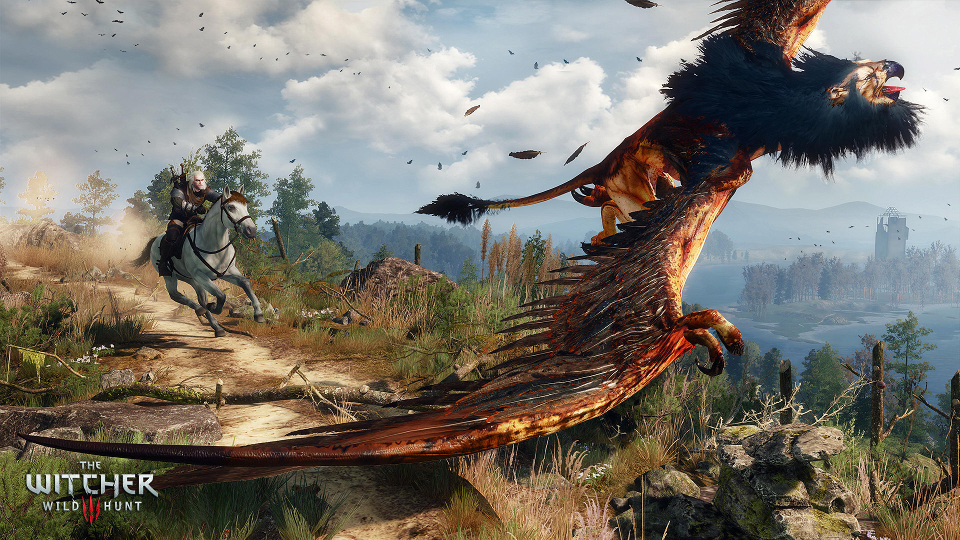 The Witcher 3 grifone che vola sul panorama