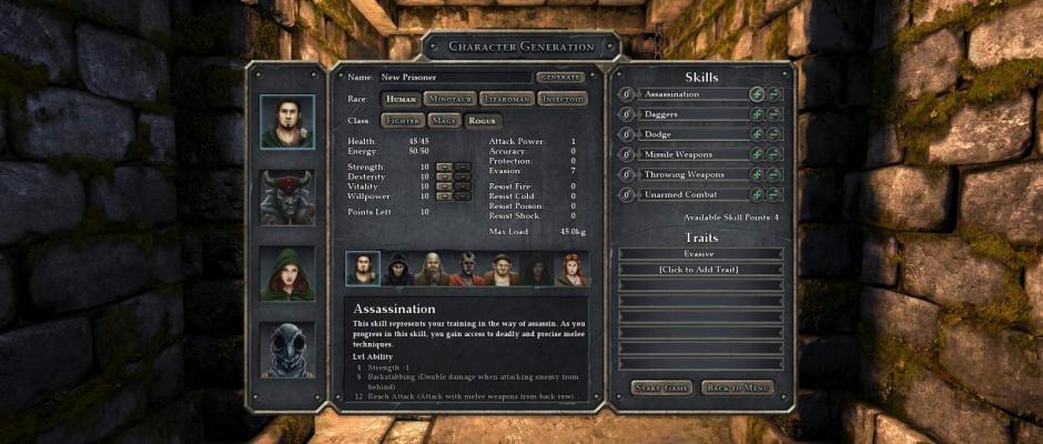La schermata di creazione del nostro party.