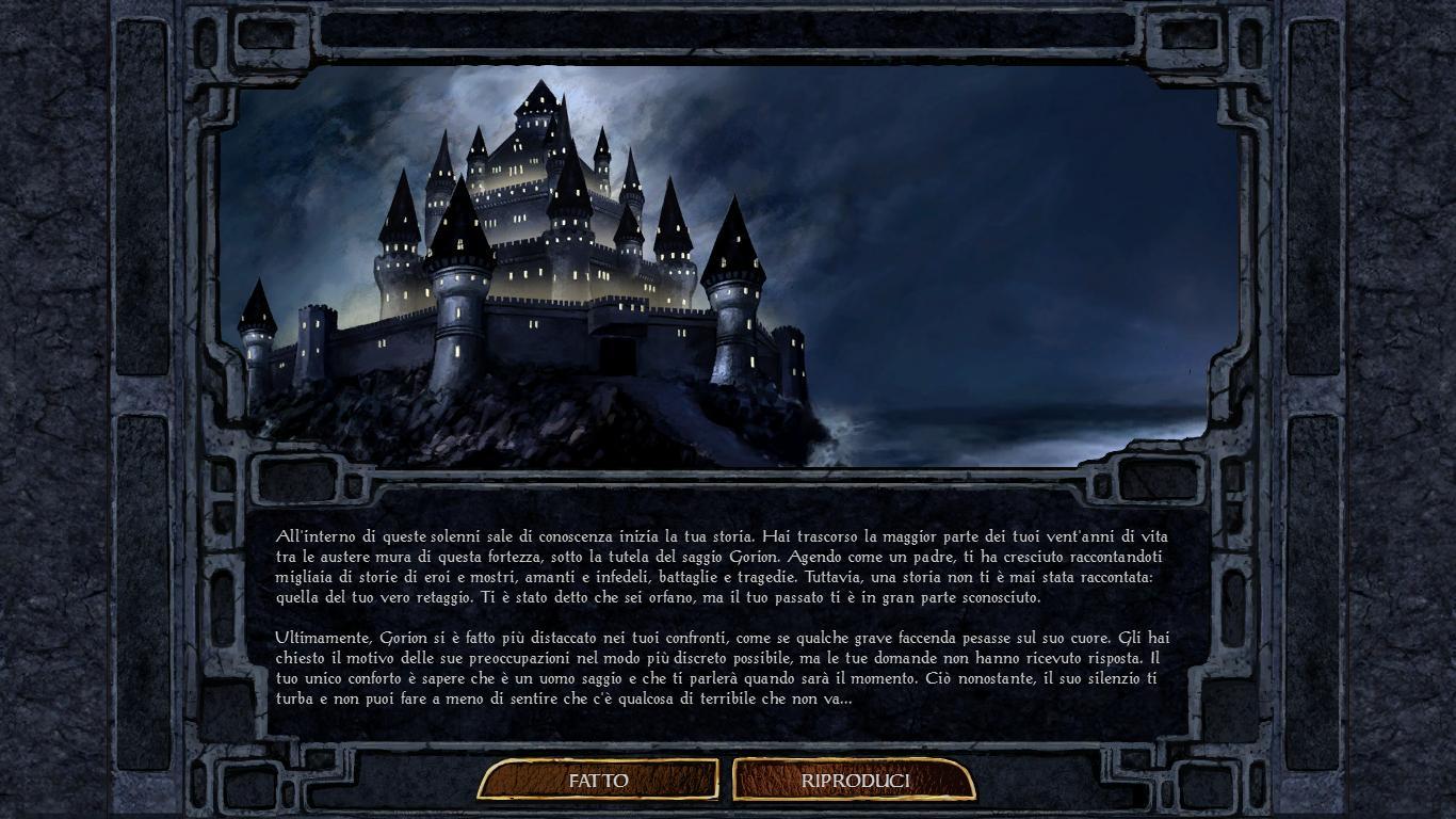 Il prologo che precede l'inizio della nostra avventura. Sullo sfondo, la fortezza-monastero di Candlekeep.