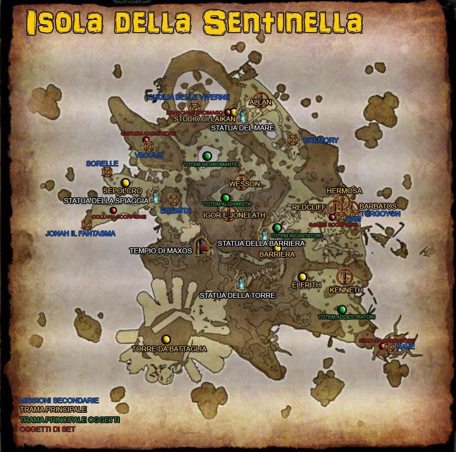 Mappa completa dell'Isola della Sentinella