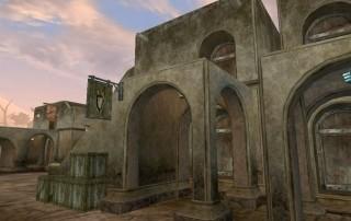Uno scorcio della Grand Plaza di balmora (l'edificio è la Gilda dei Guerrieri)
