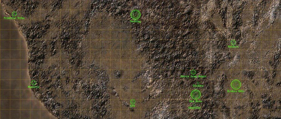 La mappa di Fallout 2