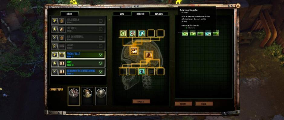 L'unico modo per customizzare un po' le skill e gli attributi è quello di impiantare appositi upgrade sul corpo dei mercenari, che daranno accesso a vari bonus.