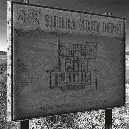 Il cartello all'ingresso del Sierra Army Base
