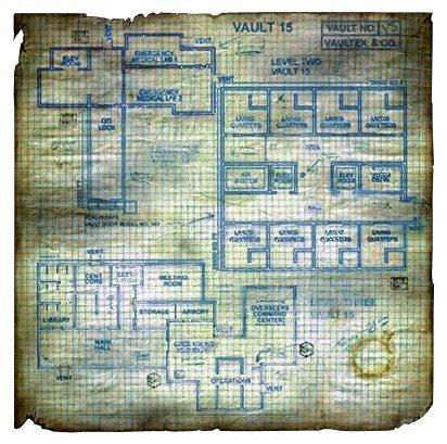 La complessa mappa di un piano del Vault 15