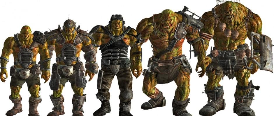 Un assortimento di Super Mutanti (ostili) in Fallout 3